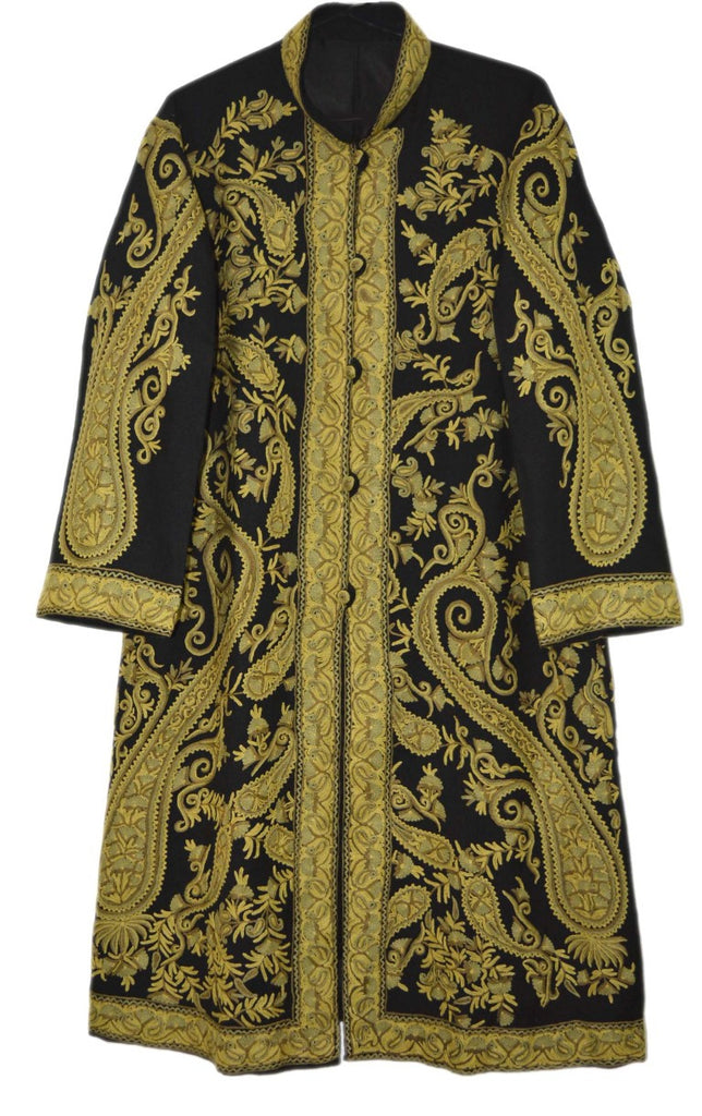 Embroidered Woolen Coat Black, Olive Embroidery #AO-152