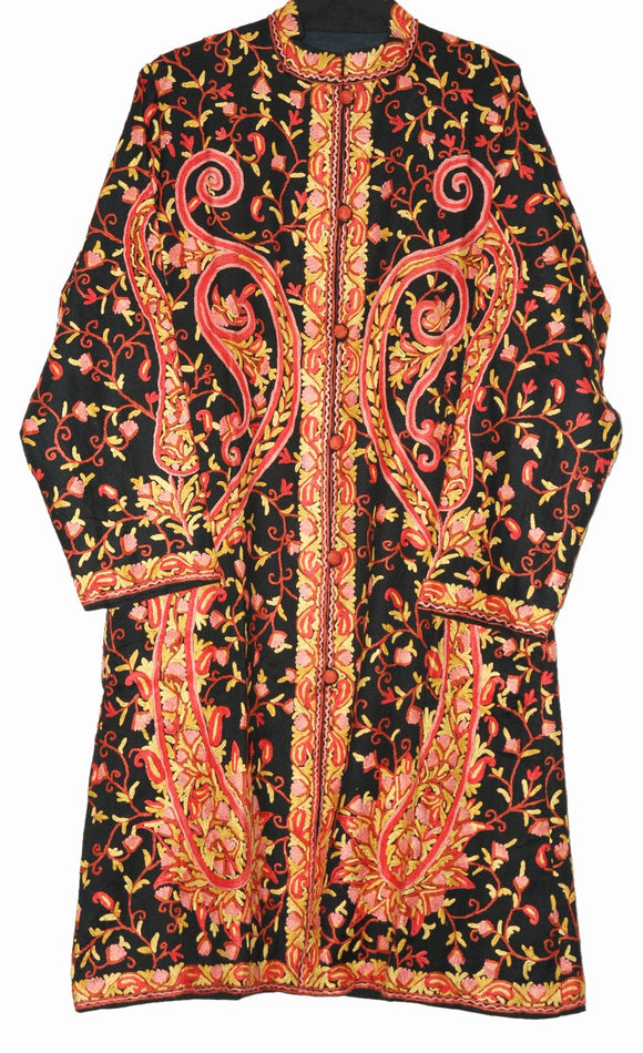 Woolen Embroidered Coat Black, Multicolor Embroidery #AO-159