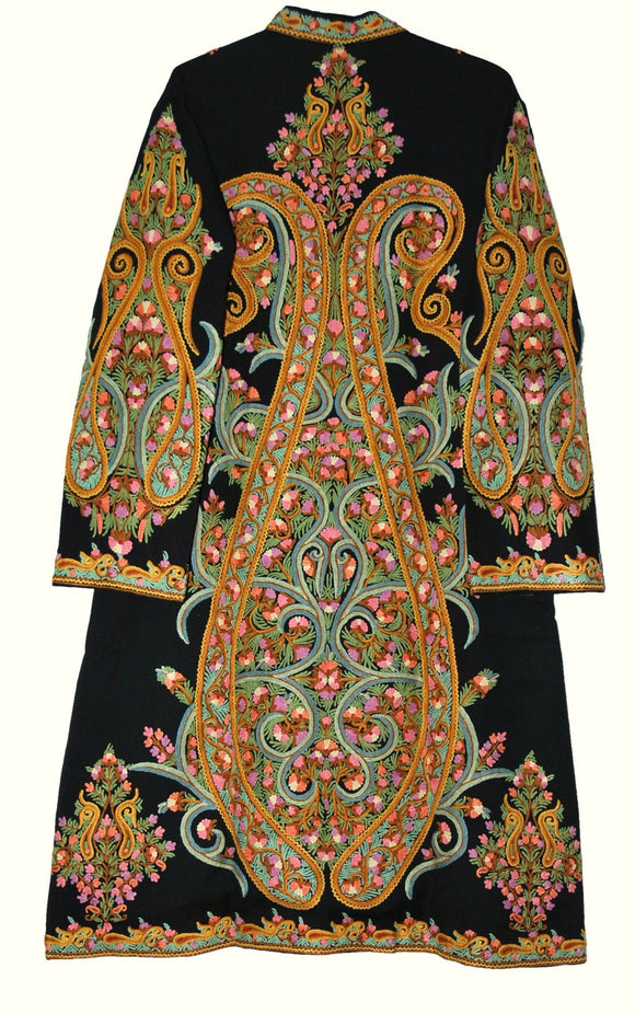 Embroidered Woolen Coat Sherwani Black, Multicolor Embroidery #AO-1603