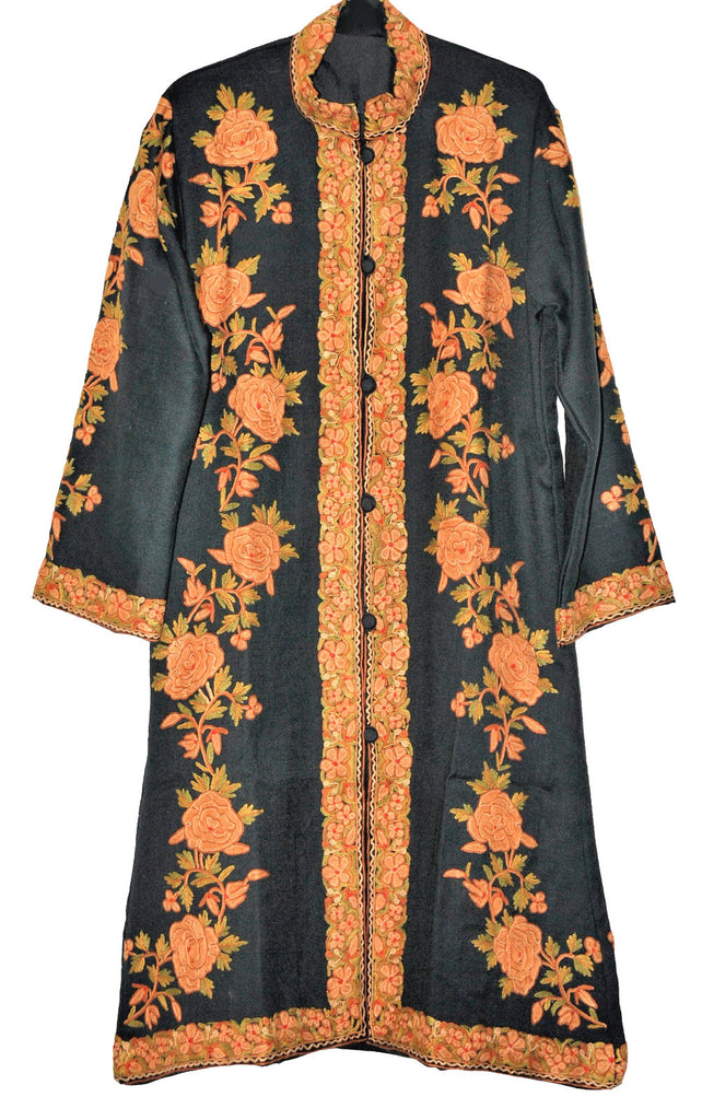 Embroidered Woolen Coat Black, Rust and Olive Embroidery #AO-160