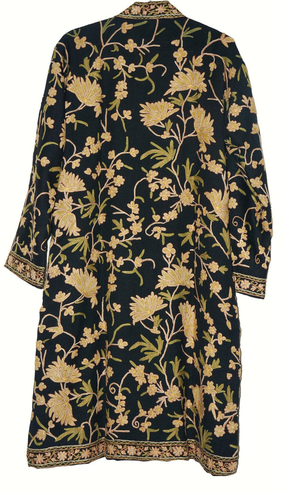 Woolen Embroidered Coat Black, Cream and Olive Embroidery #AO-161