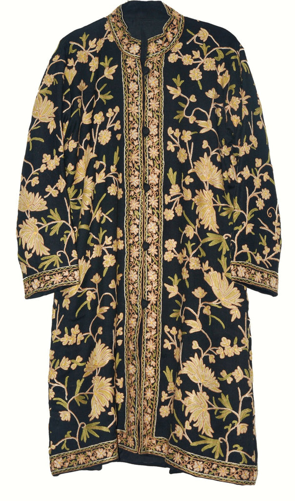 Embroidered Woolen Coat Black, Cream and Olive Embroidery #AO-161