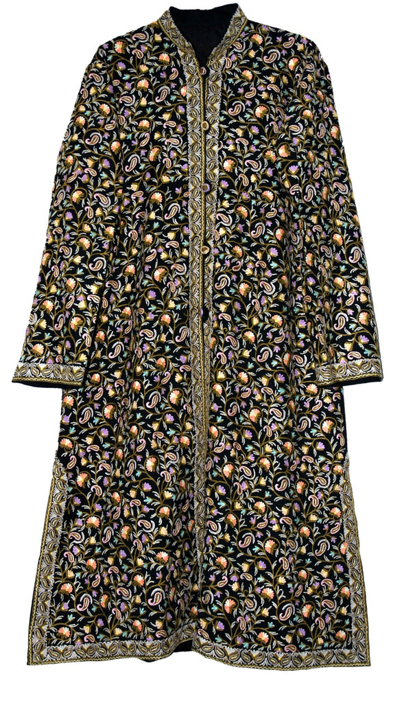 Embroidered Woolen Coat Long Jacket Black, Multicolor Embroidery #AO-1621