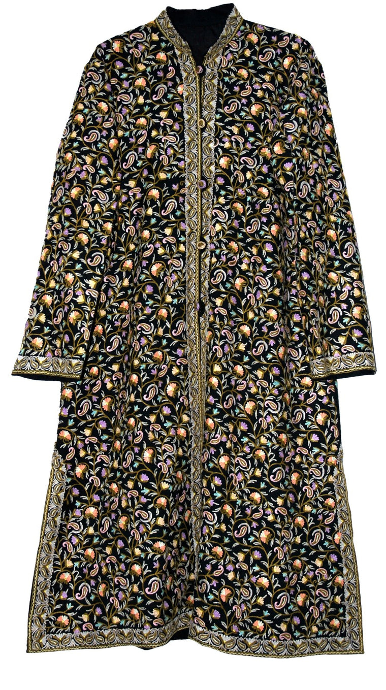 Embroidered Woolen Coat Sherwani Black, Multicolor Embroidery #AO-1621