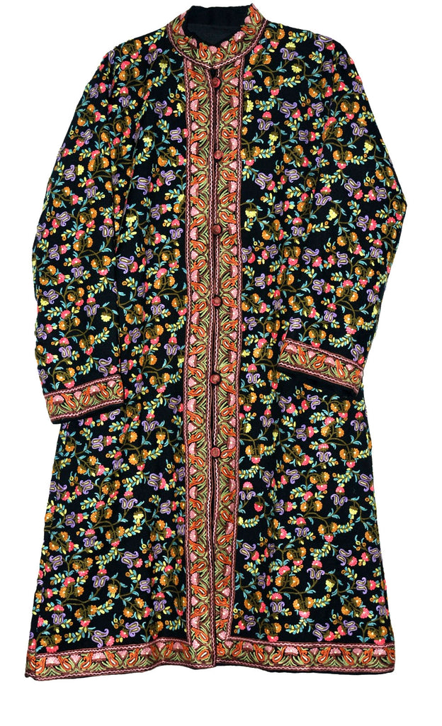Woolen Coat Long Jacket Long Jacket Black, Multicolor Embroidery #AO-1622
