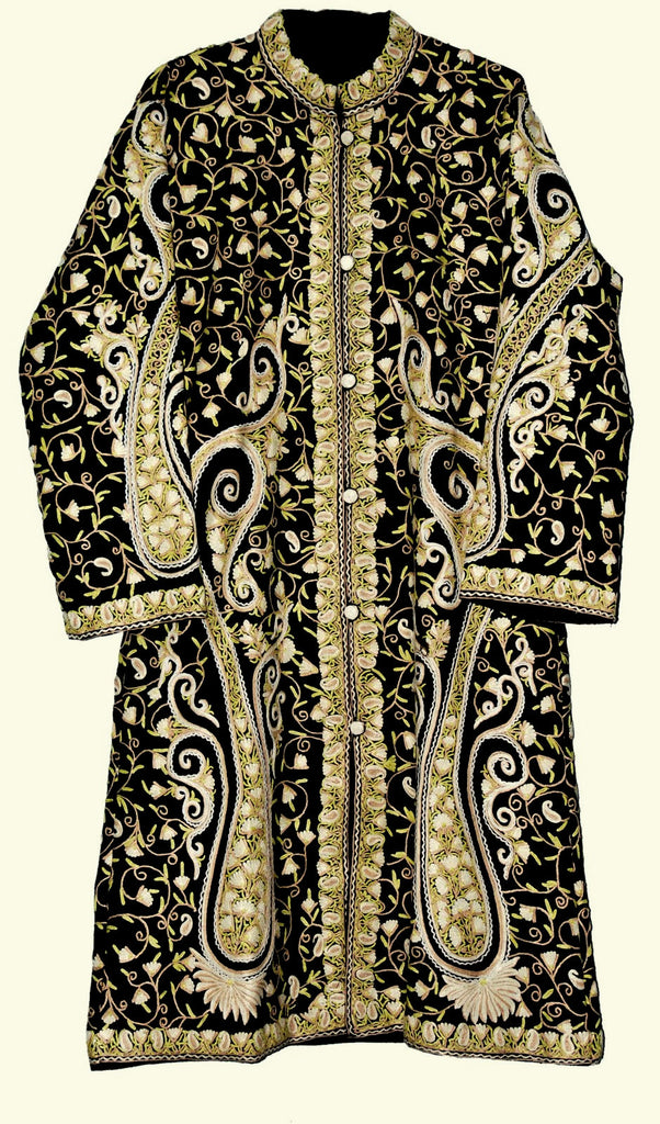 Embroidered Woolen Coat Black, Cream and White Embroidery #AO-162