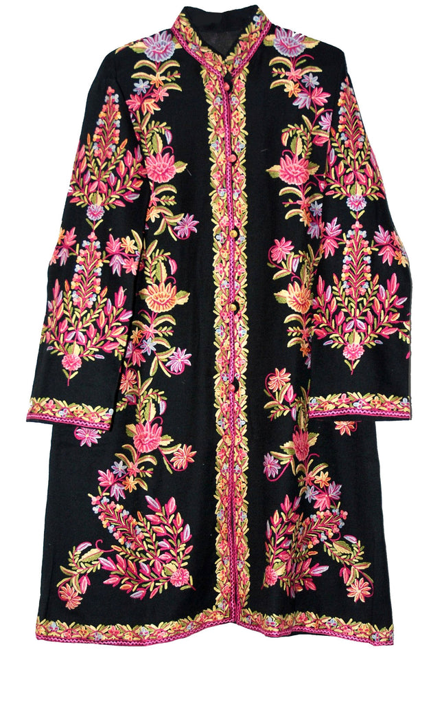 Woolen Coat Long jacket Black, Multicolor Embroidery #AO-164