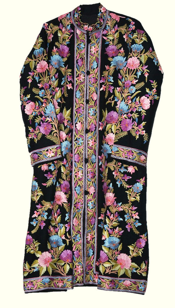 Embroidered Woolen Coat Long Jacket Black, Multicolor Embroidery #AO-169