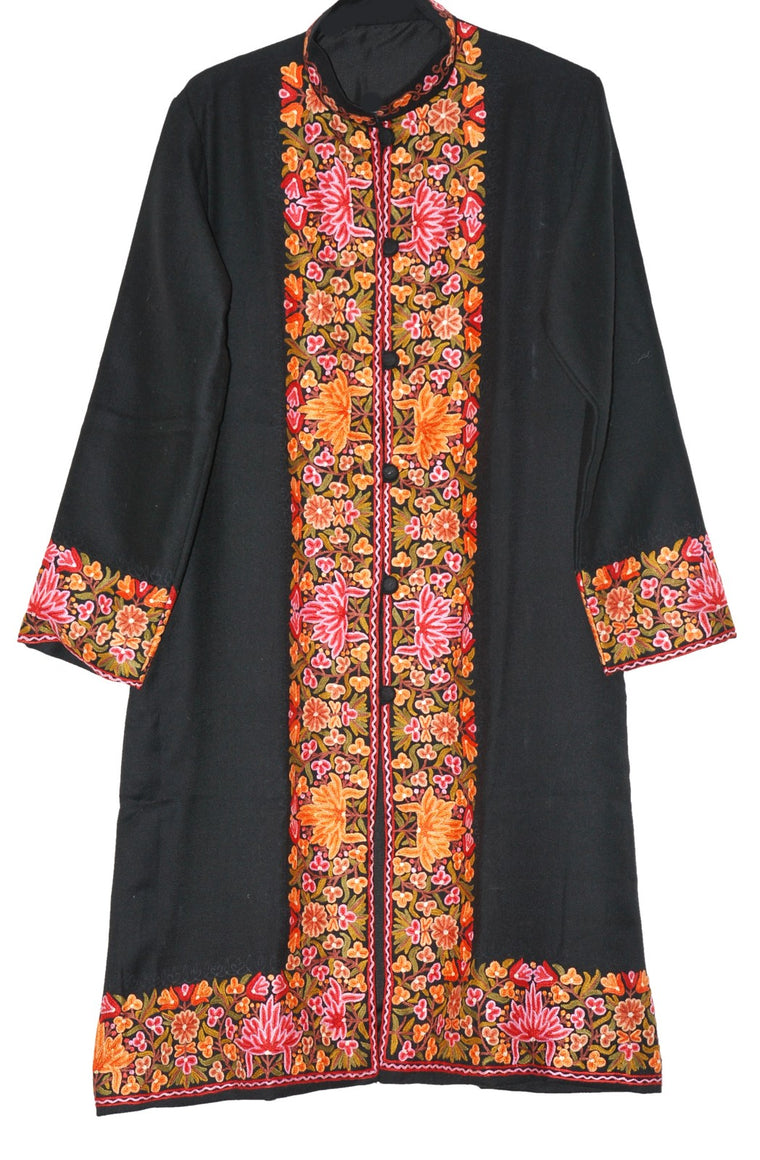 Embroidered Woolen Coat Black, Multicolor Embroidery #BD-116