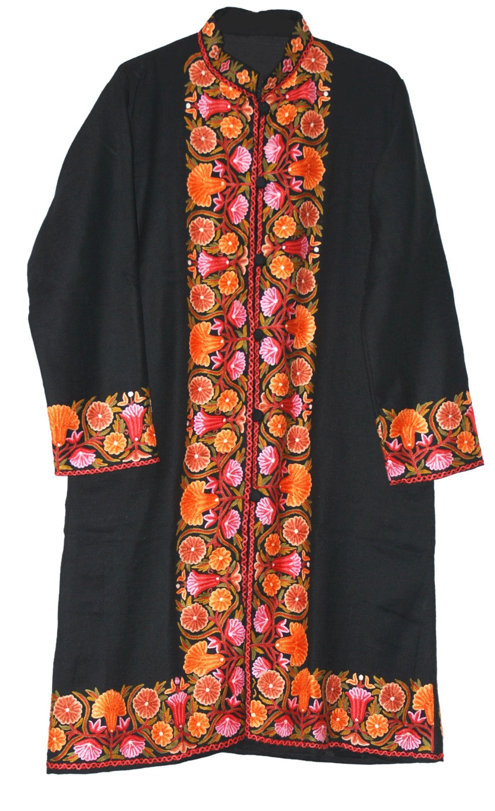 Embroidered Woolen Coat Black, Multicolor Embroidery #BD-117
