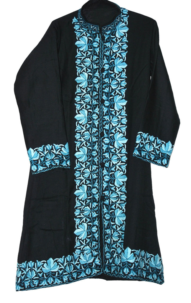 Embroidered Woolen Coat Black, Blue Embroidery #BD-118