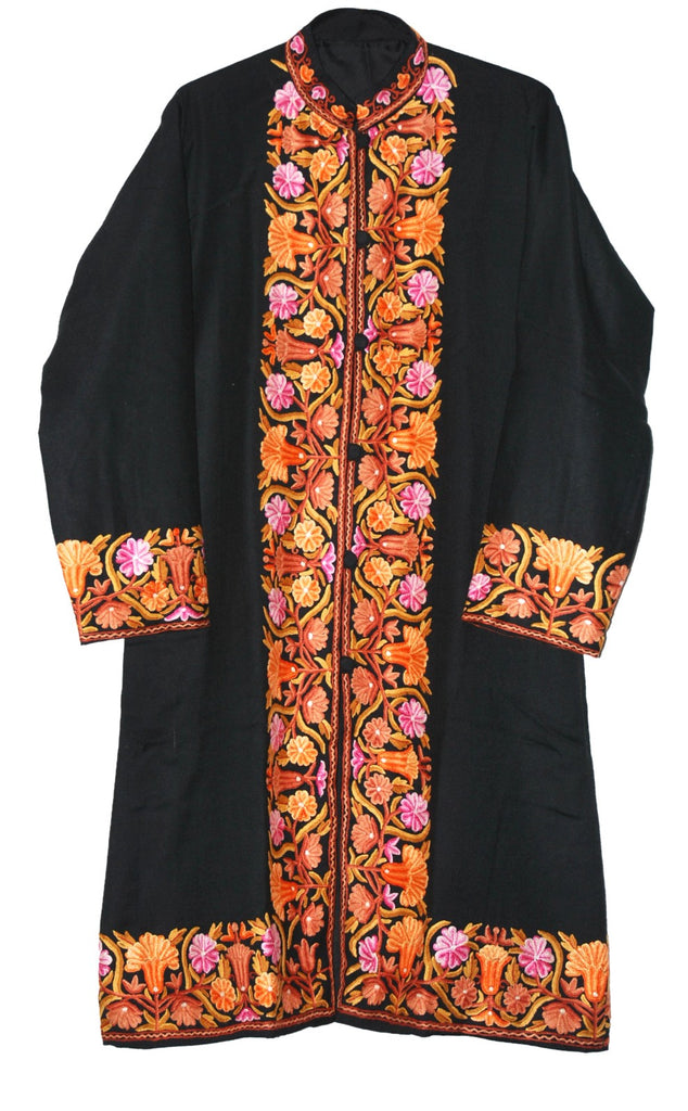 Embroidered Woolen Coat Black, Multicolor Embroidery #BD-119