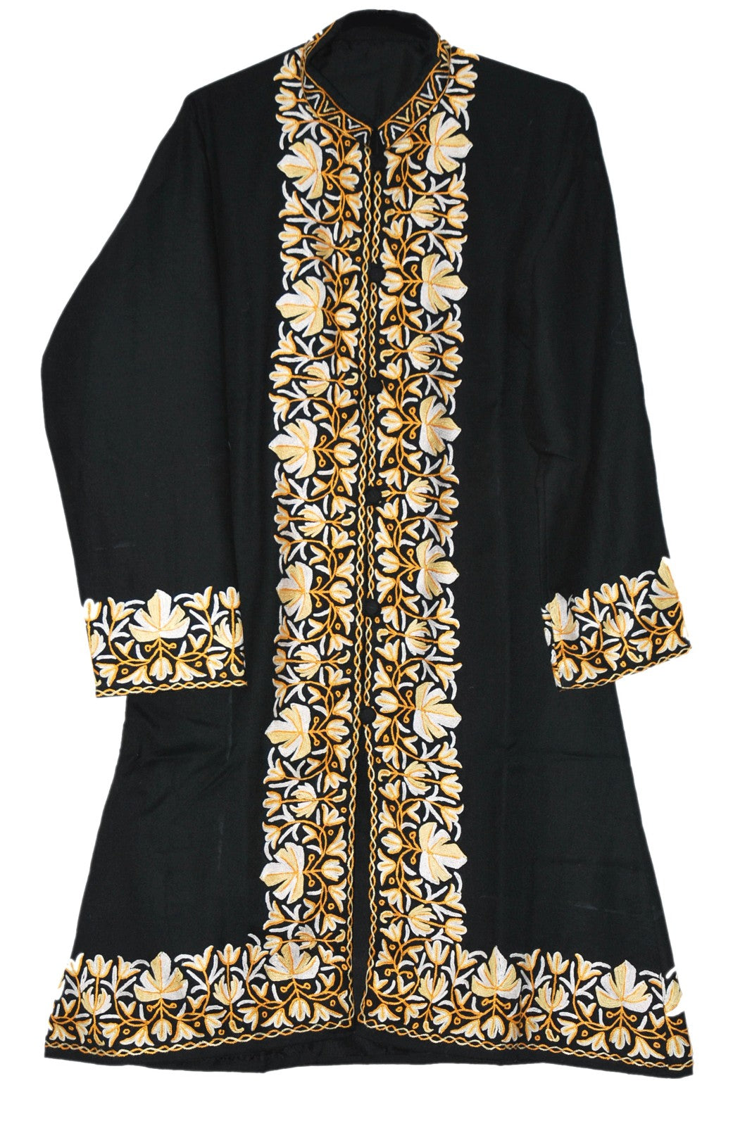 Embroidered Woolen Coat Black Cream And Yellow Embroidery Bd 120