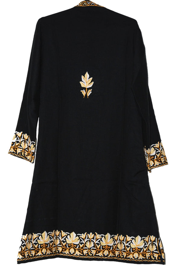 Embroidered Woolen Coat Black, Cream and Yellow Embroidery #BD-120