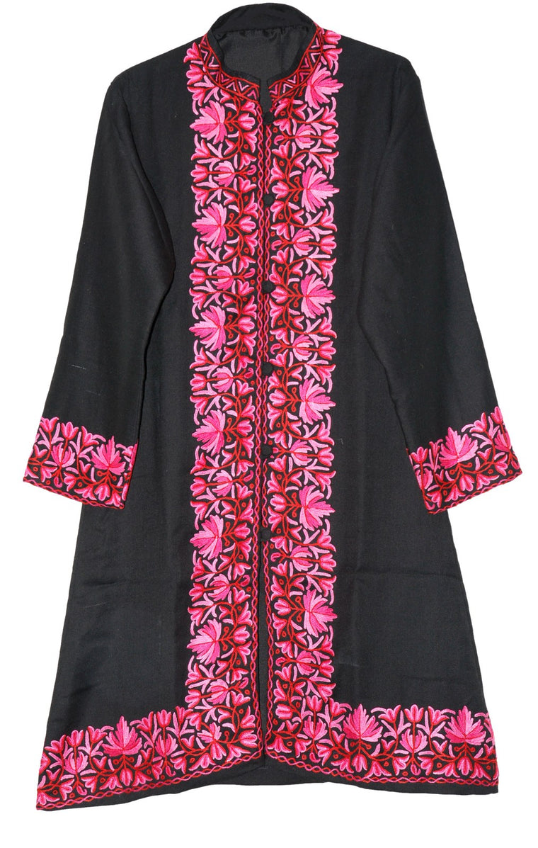 Embroidered Woolen Coat Black, Pink Embroidery #BD-121