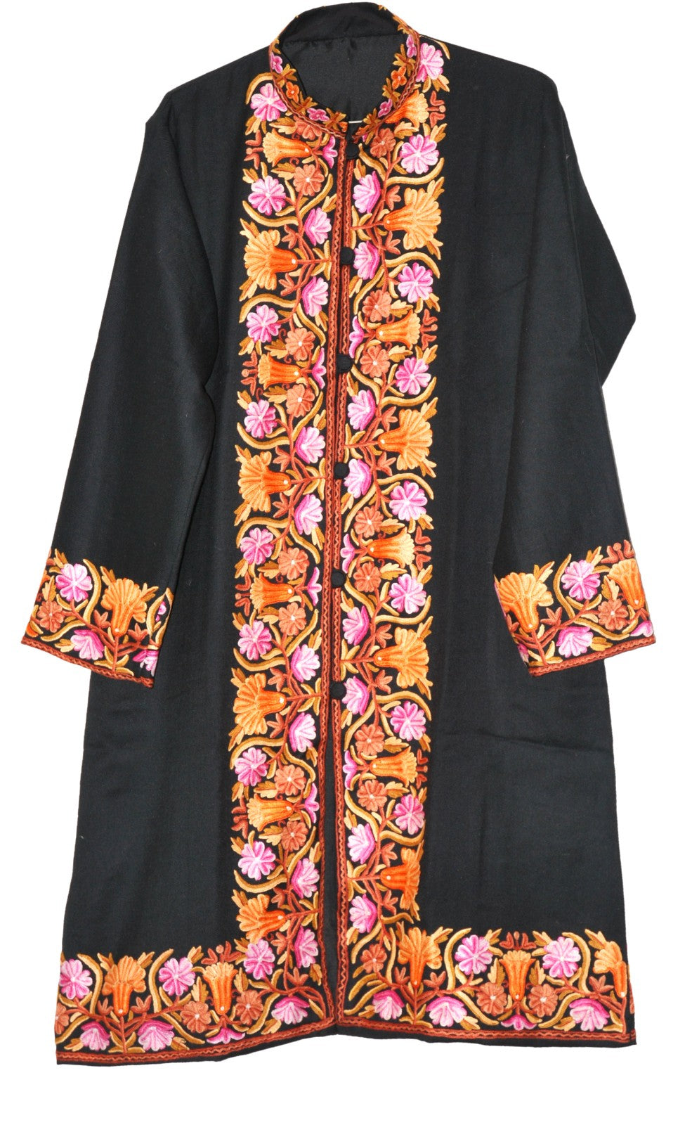 Embroidered Woolen Coat Black, Multicolor Embroidery #BD-122