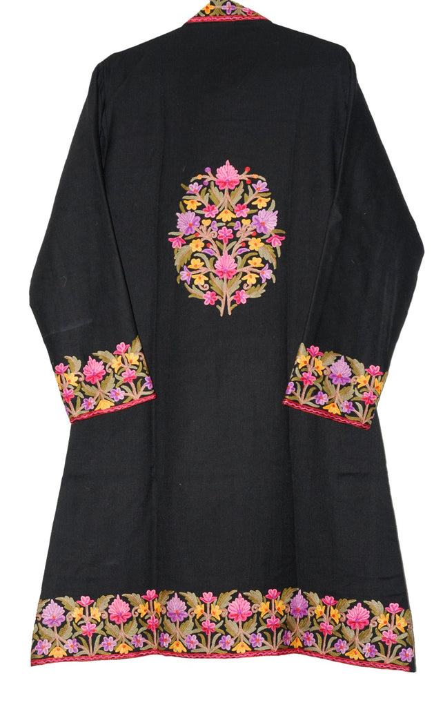 Embroidered Woolen Coat Black, Multicolor Embroidery #BD-123