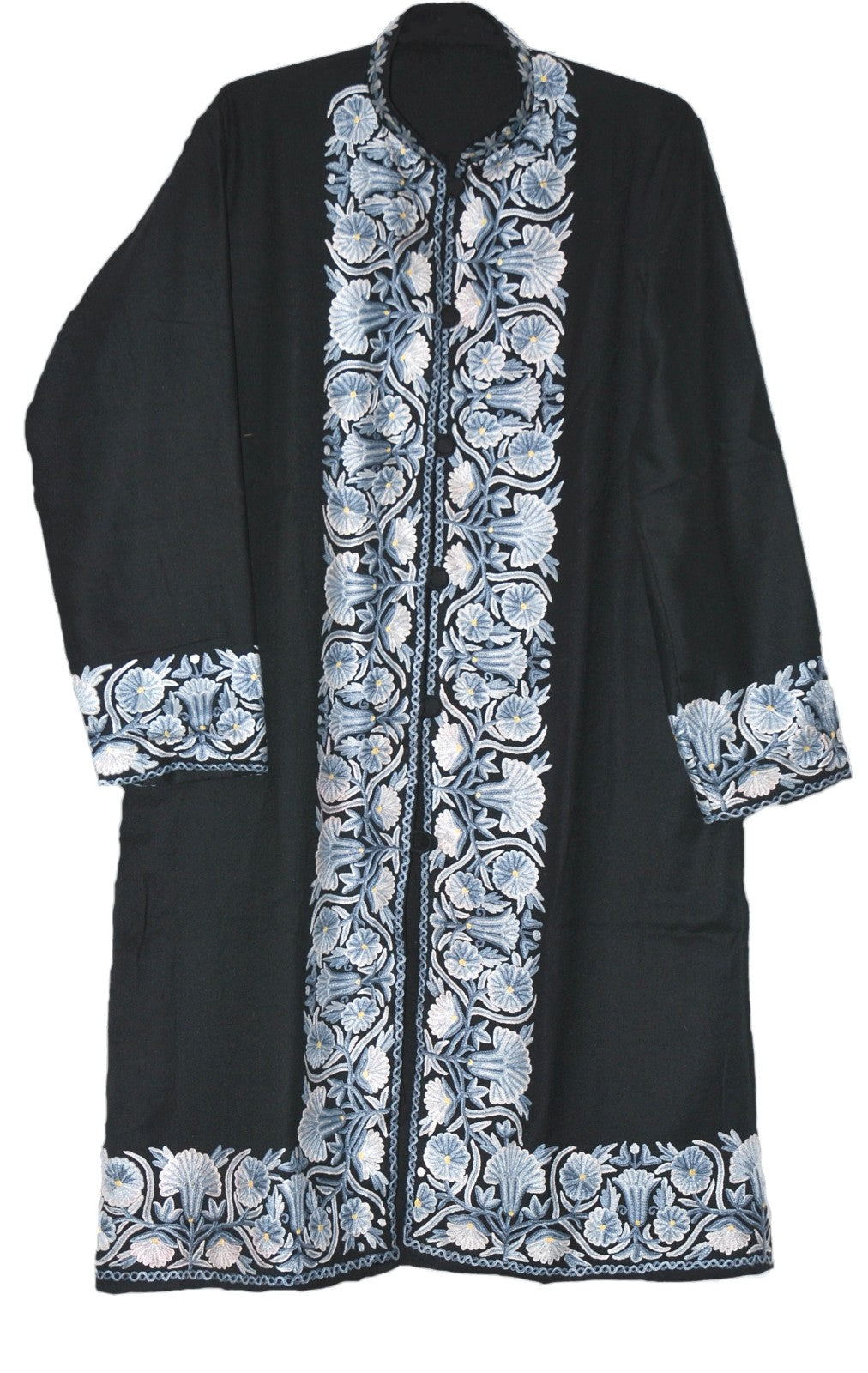 Embroidered Woolen Coat Black, Grey and White Embroidery #BD-124