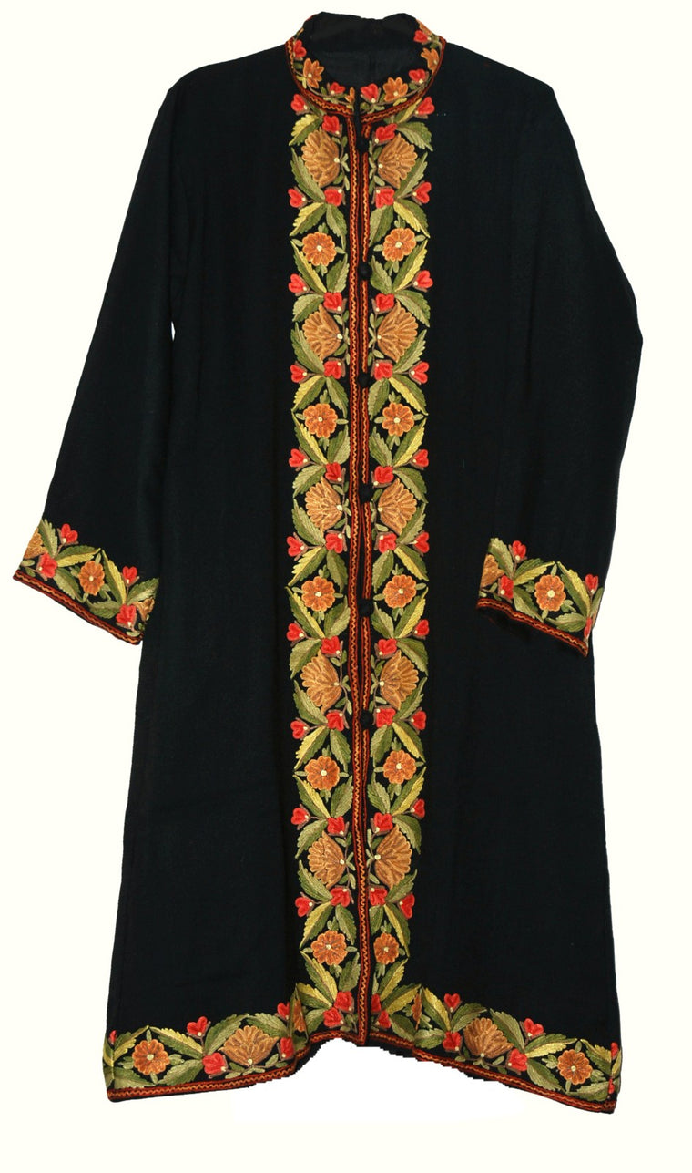 Embroidered Woolen Coat Black, Multicolor Embroidery #BD-125