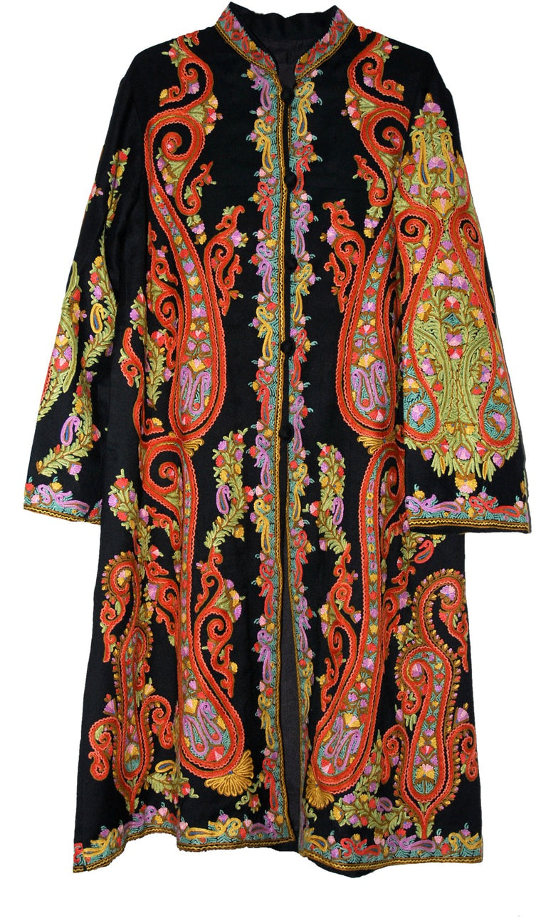 Embroidered Woolen Coat Sherwani Black, Multicolor Embroidery #AO-1602