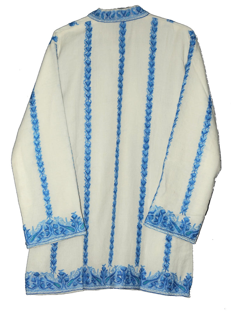 Embroidered Woolen Jacket White, Blue Embroidery #AO-006