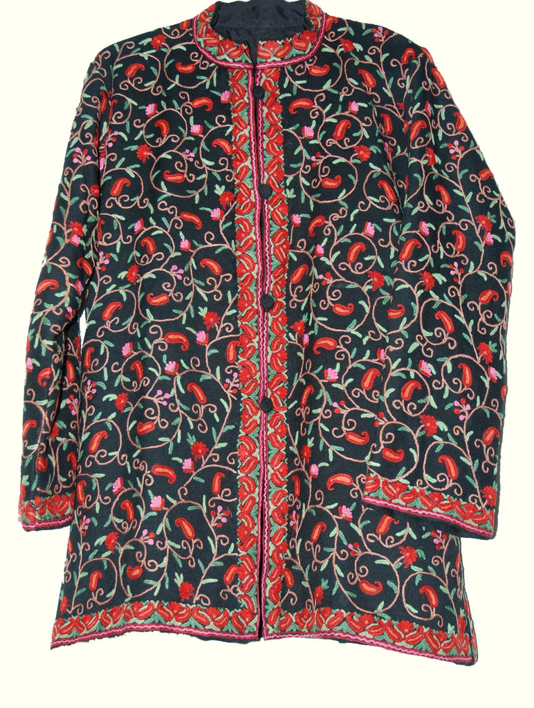 Embroidered Woolen Jacket Black, Multicolor Embroidery #AO-007