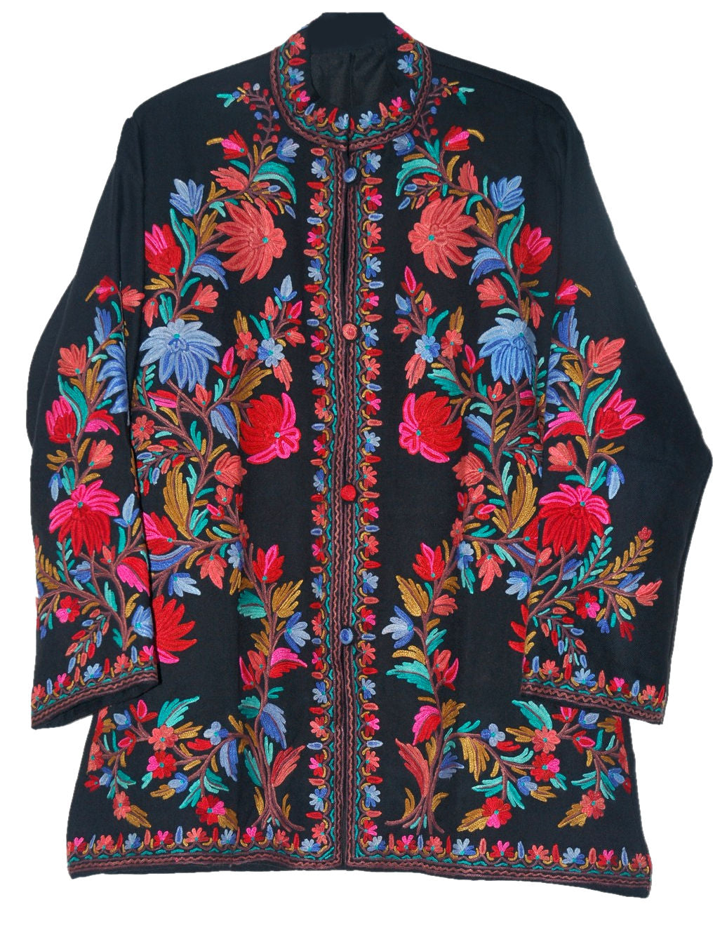 Embroidered Woolen Jacket Black, Multicolor Embroidery #AO-008