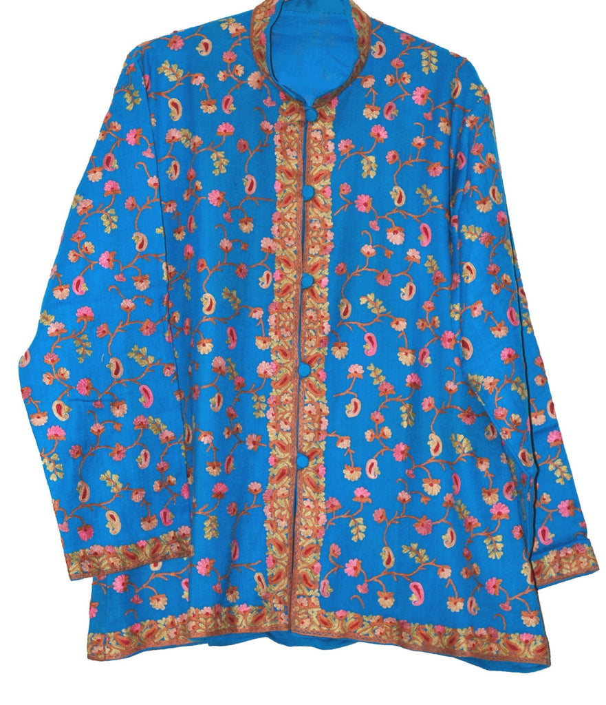 Embroidered Woolen Jacket Turquoise, Multicolor Embroidery #AO-0091