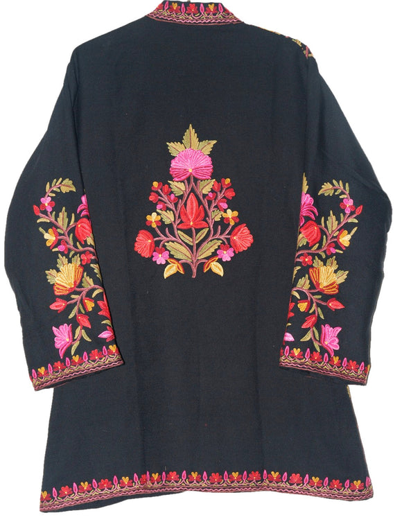 Embroidered Woolen Jacket Black, Multicolor Embroidery #AO-009