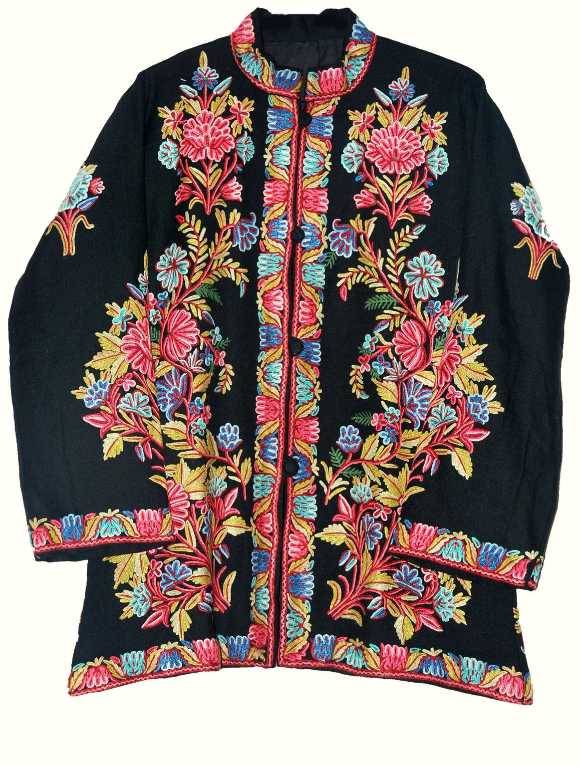 Embroidered Woolen Jacket Black, Multicolor Embroidery #AO-013