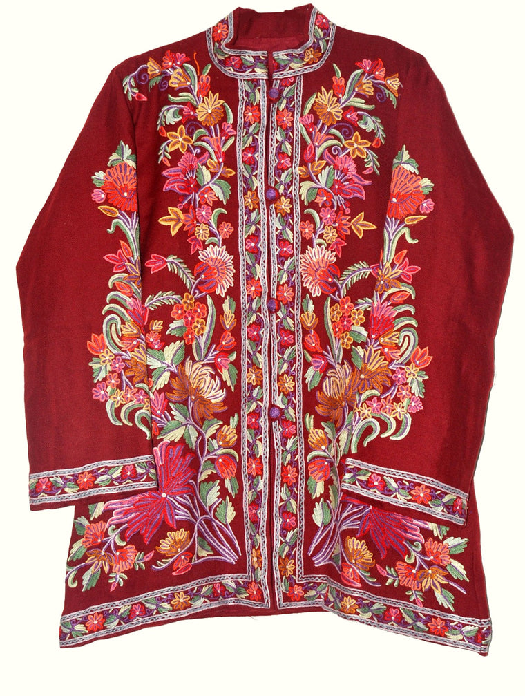 Embroidered Woolen Jacket Burgundy, Multicolor Embroidery #AO-016