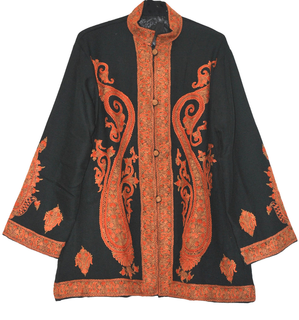 Embroidered Woolen Jacket Black, Rust and Green Embroidery #AO-019