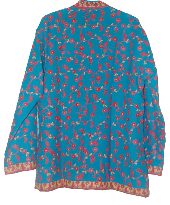 Embroidered Woolen Jacket Turquoise, Multicolor Embroidery #AO-022