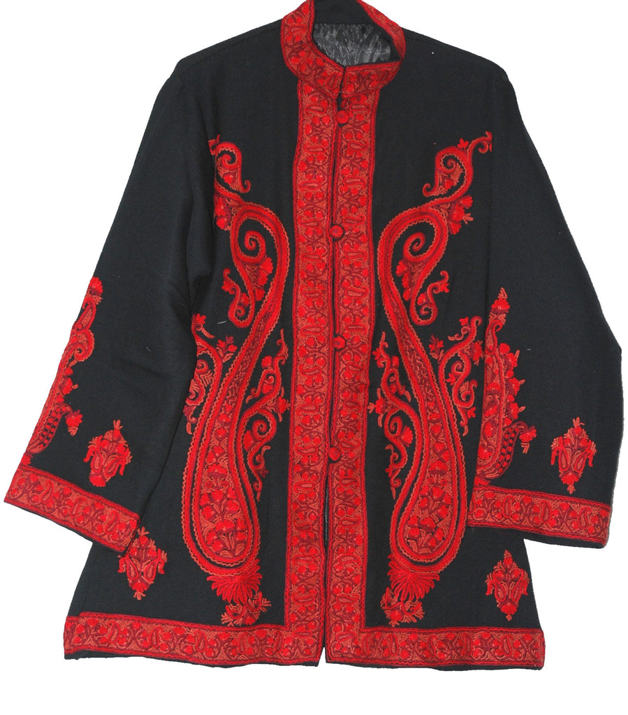 Embroidered Woolen Jacket Black, Red Embroidery #AO-023