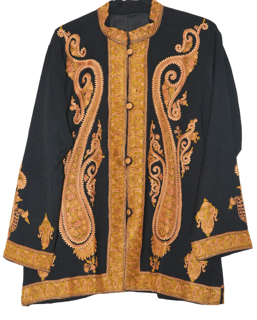 Embroidered Woolen Jacket Black, Rust and Olive Embroidery #AO-024