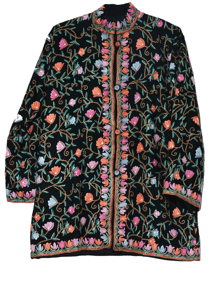 Embroidered Woolen Jacket Black, Multicolor Embroidery #AO-025