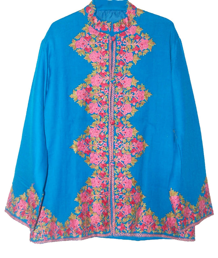 Embroidered Woolen Jacket Turquoise, Multicolor Embroidery #AO-029