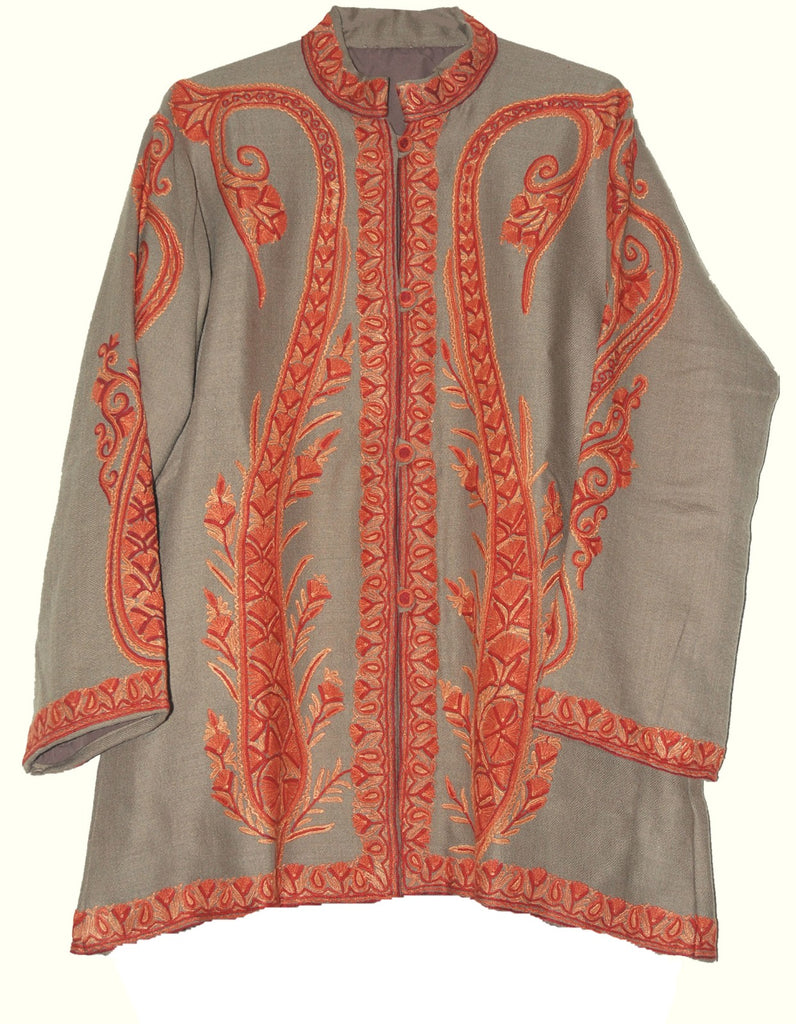 Embroidered Woolen Jacket Beige, Rust Embroidery #AO-030