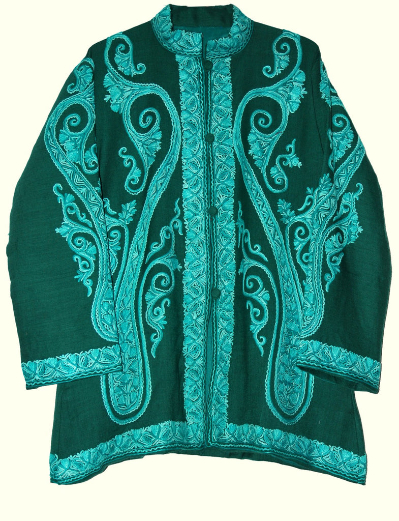 Embroidered Woolen Jacket Dark Green, Tone-Tone Embroidery #AO-031