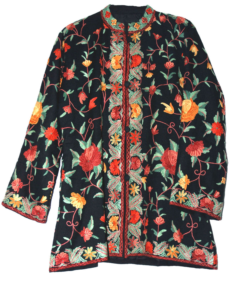 Woolen Short Jacket Black, Multicolor Embroidery #AO-0321