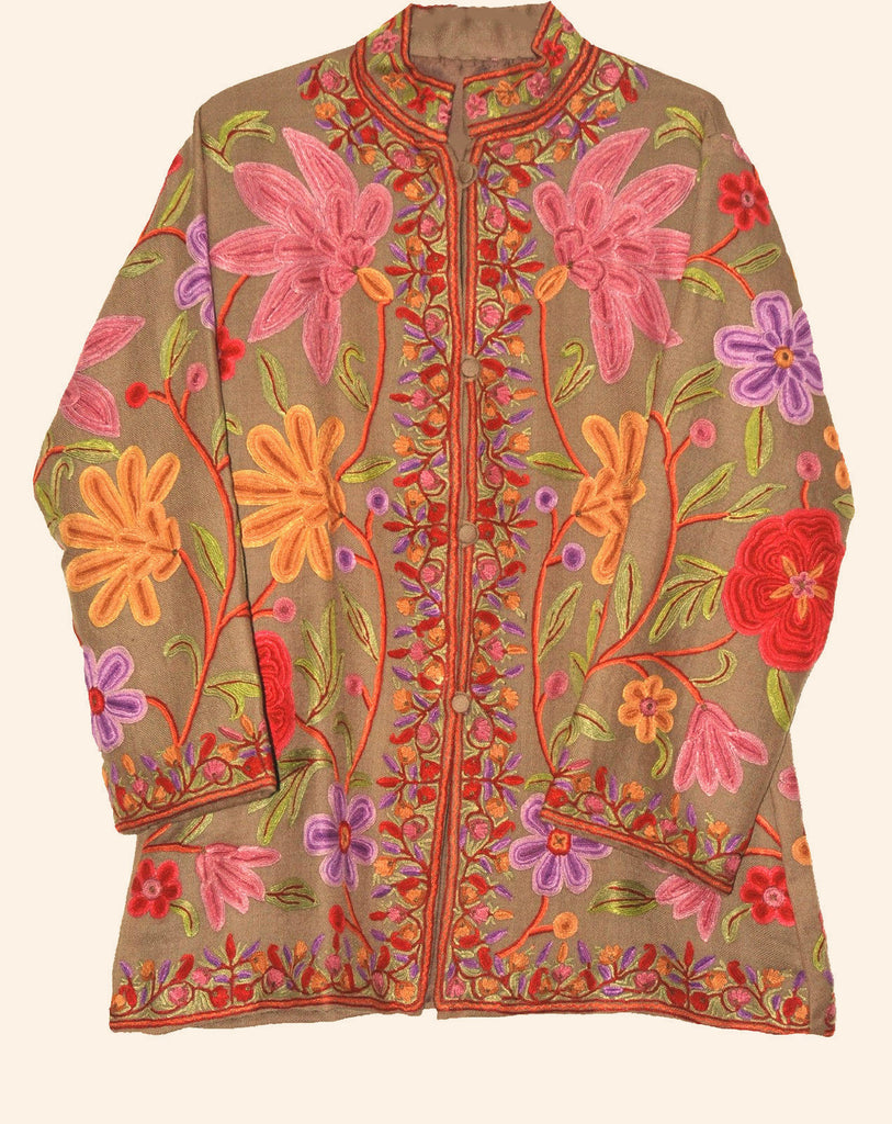 Embroidered Woolen Jacket Beige, Multicolor Embroidery #AO-033