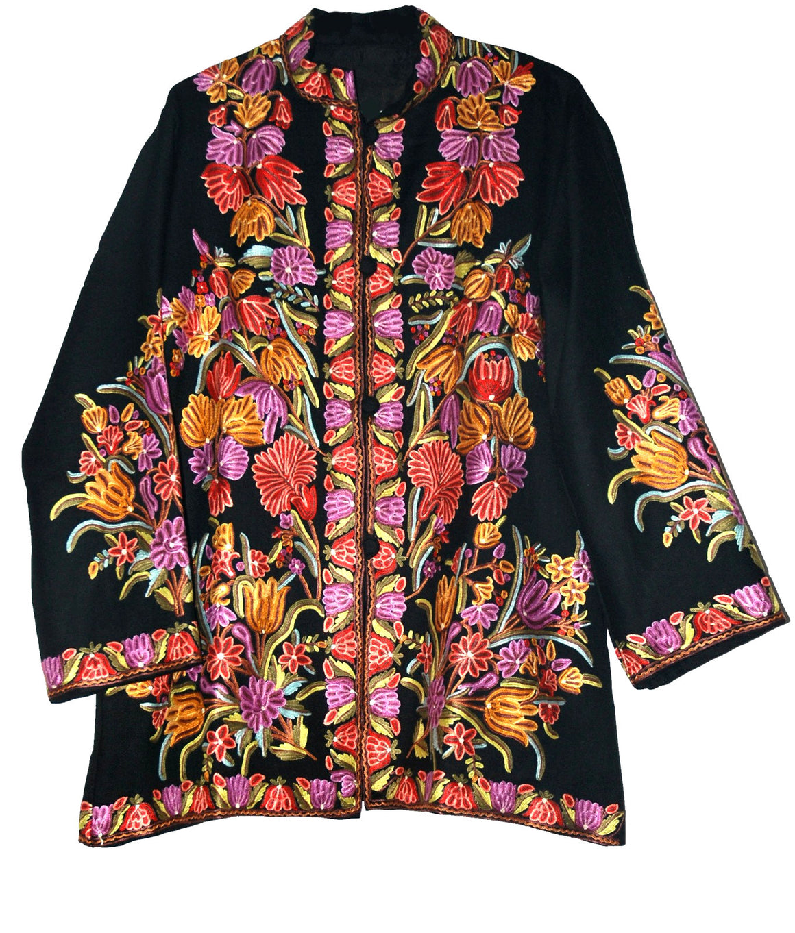 Woolen Short Jacket Black, Multicolor Embroidery #AO-036