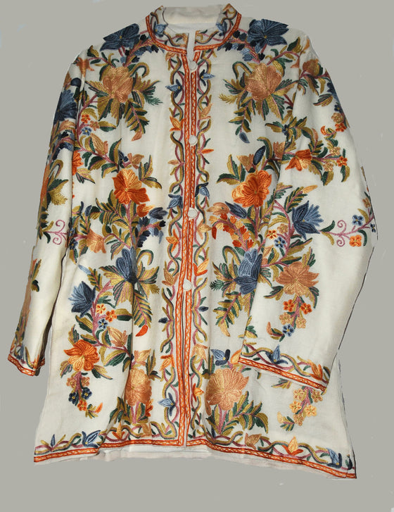 Embroidered Woolen Jacket White, Multicolor Embroidery #AO-051