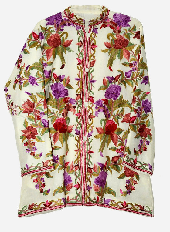 Embroidered Woolen Short Jacket White, Multicolor Embroidery #AO-053