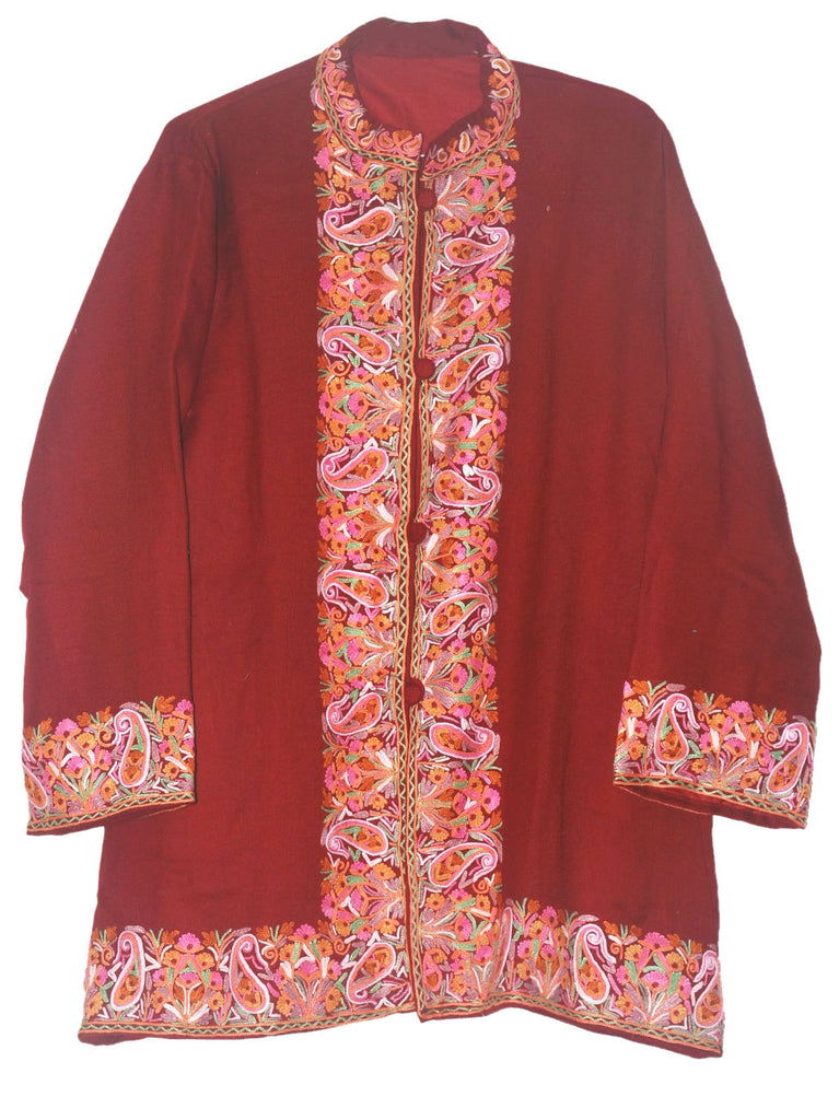 Embroidered Woolen Jacket Burgundy, Multicolor Embroidery #BD-002