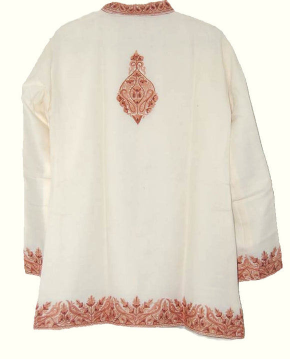 Embroidered Woolen Jacket Ivory White, Rust Embroidery #BD-003