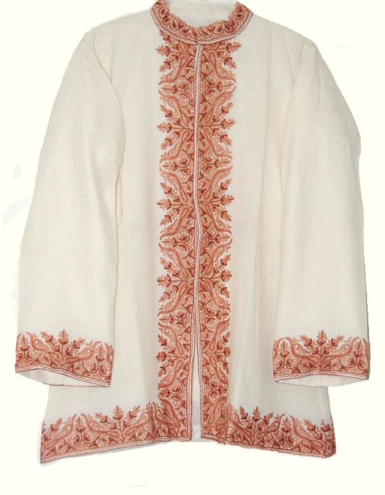 Woolen Short Jacket White, Rust Embroidery #BD-003