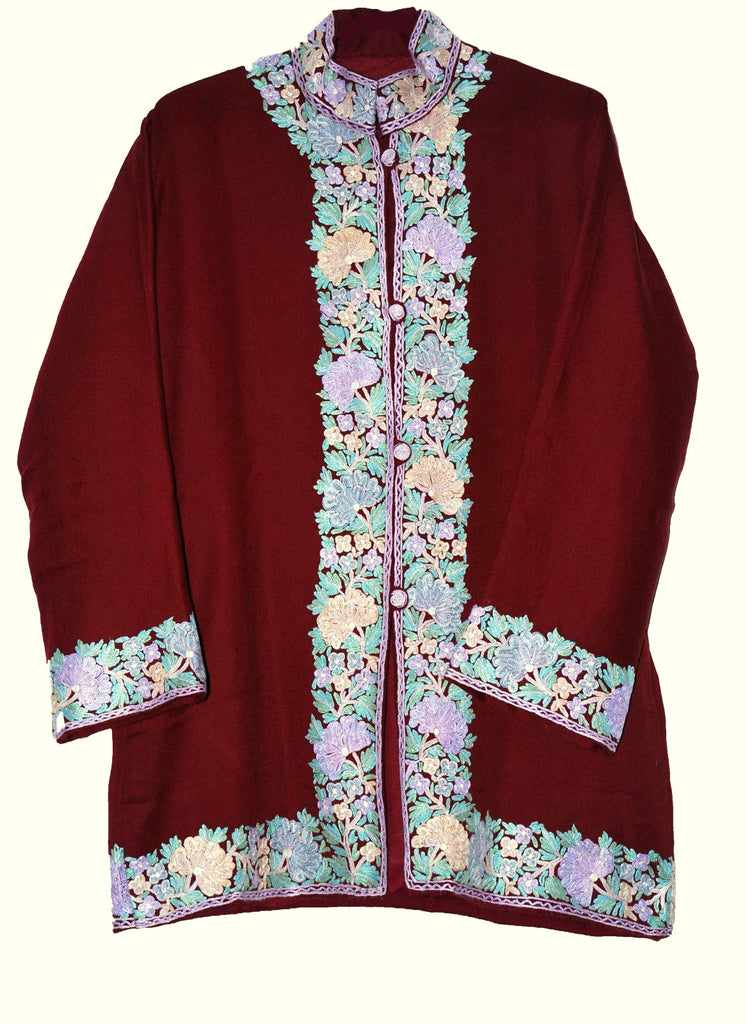 Embroidered Woolen Jacket Burgundy, Multicolor Embroidery #BD-005