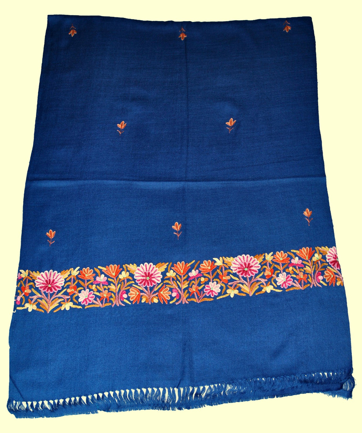 Embroidered Wool Shawl Scarf Navy Blue, Multicolor Embroidery #WS-128