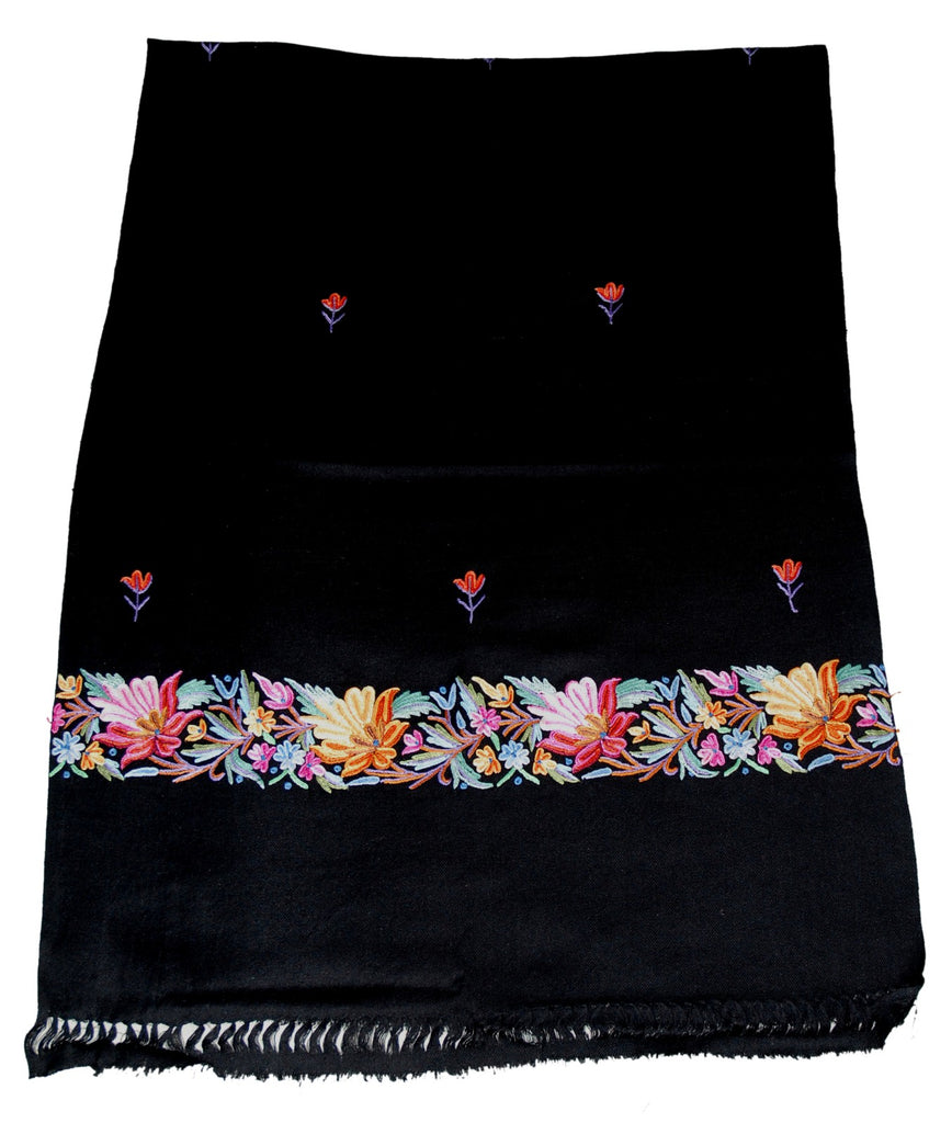Embroidered Wool Shawl Scarf Black, Multicolor Embroidery #WS-129